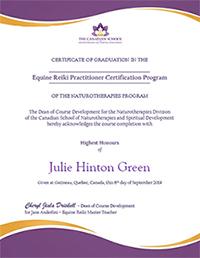 Equine Reiki Certificate